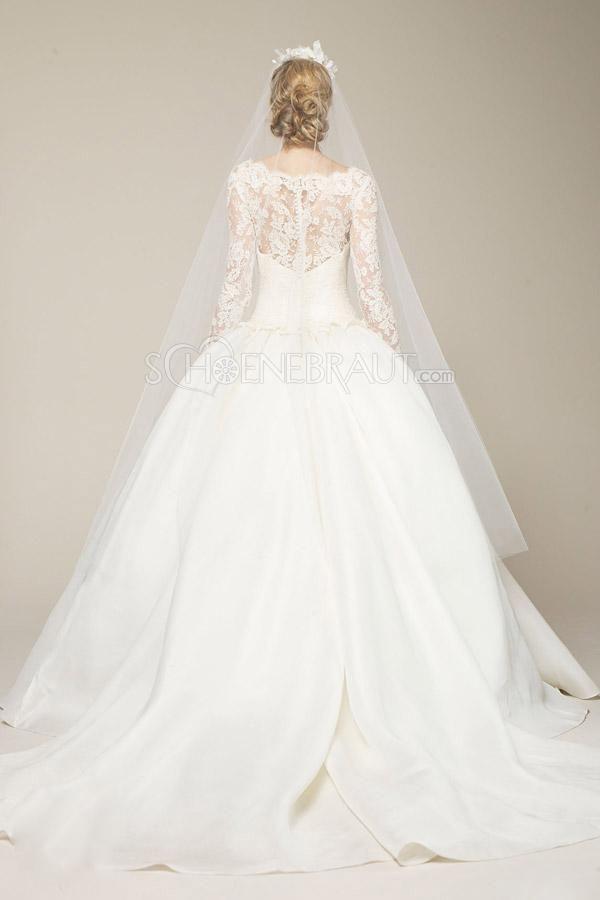 Lange Ärmeln Satin Prinzessin Hochzeitskleid mit Pinsel-Schleppe [#UD8562] - schoenebraut.com