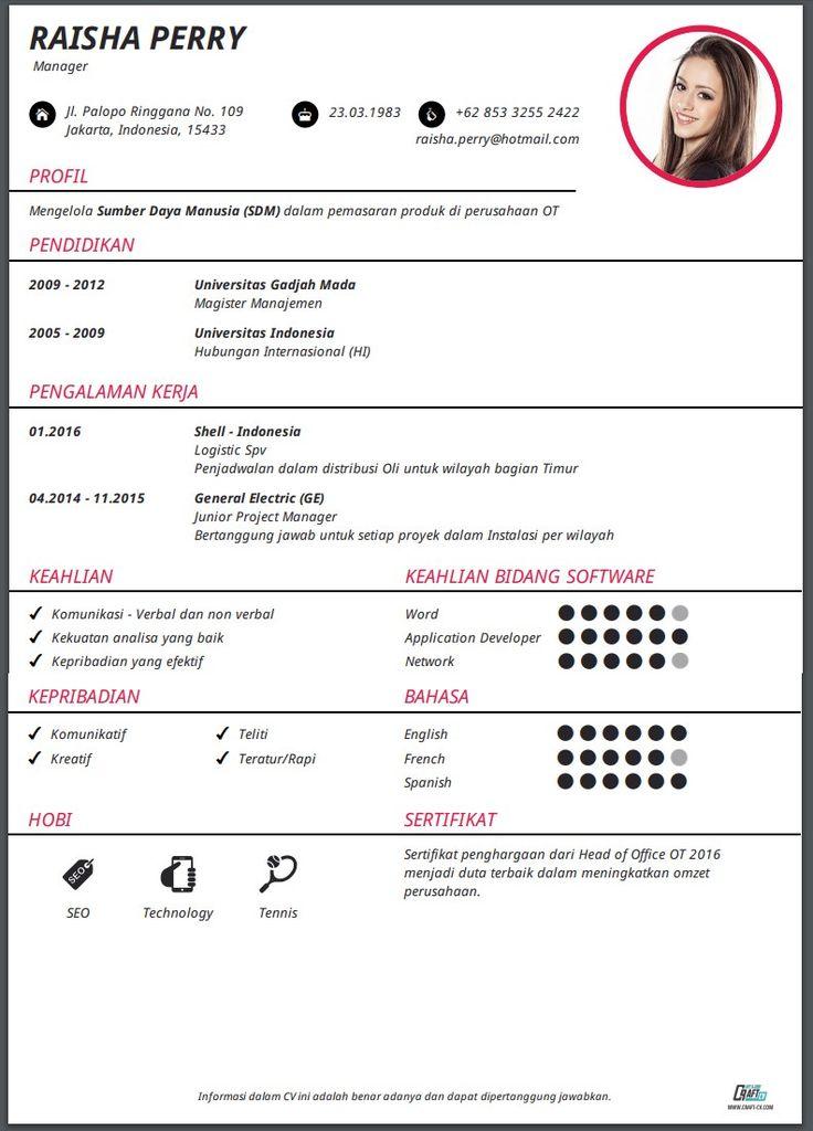 Cv Template Bahasa Indonesia - Resume Format | Cv kreatif ...