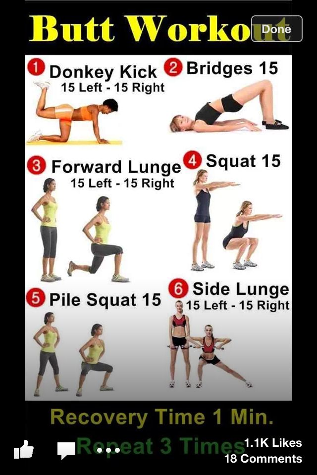 Butt workout ( unlike all those 50 squat, 100 jumping jack routines, this sounds reasonable for an out of shape girl to get started!)