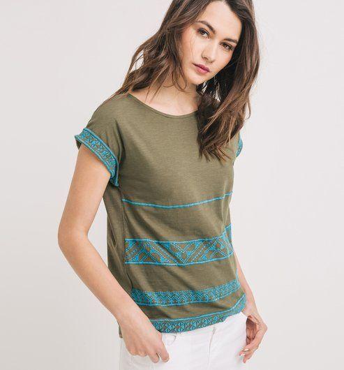 Tričko s výšivkou zelená - Promod