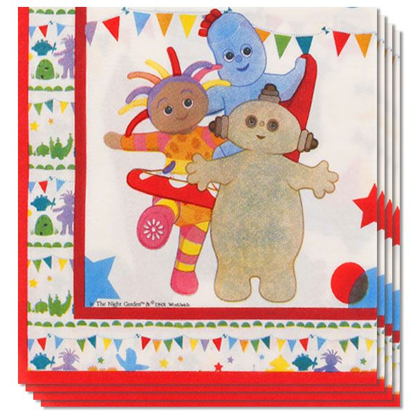 In The Night Garden Paper Napkins 2 Ply - 33cm - Pack of 16 Sold:Pack of 16 Size: 33cm x 33cm / 13inches Thickness: 2ply Material: Paper Printed all over