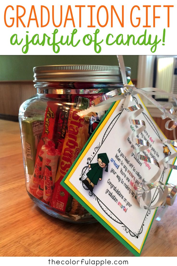 Graduation gift full of candy and money!  This simple diy gift idea is perfect for a high school or college
