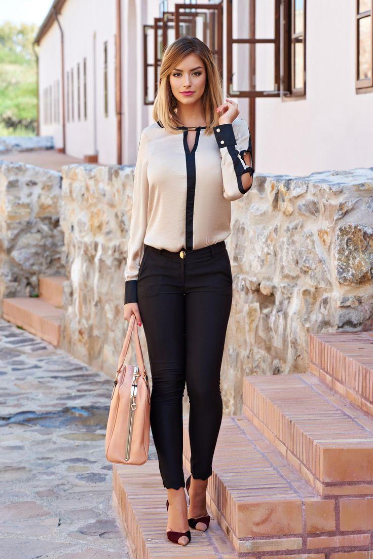 Pantaloni PrettyGirl Trendy Autumn Black. Pantaloni eleganti cu croi skinny si…