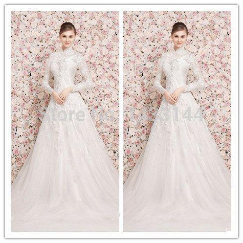 Свадебное платье на продажу онлайн платье-линии с длинным рукавом высоким горлом нет поезд белое свадебное платье Vestido де Noiva 2015