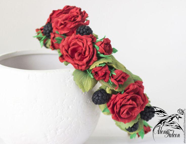 """Купить Ободок для волос """"Красные розы и ежевика"""" - ободок для волос, ободок с цветами, купить ободок"""