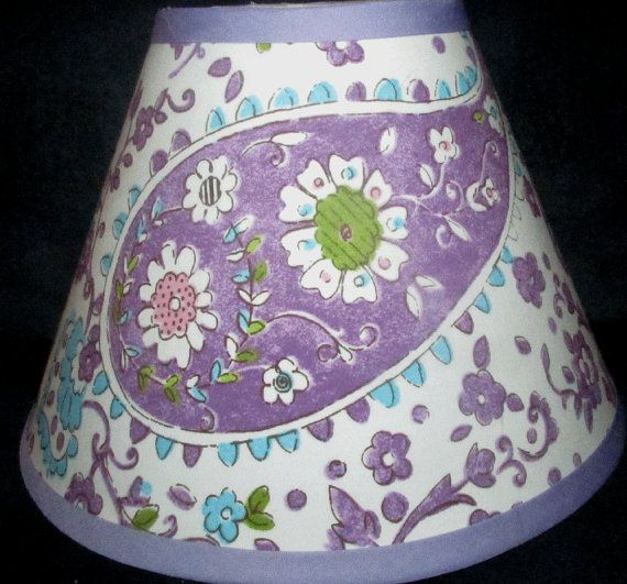 ON SALE Brooklyn Paisley Girls Purple Lavender Lamp Shade made 2 match Pottery Barn Kids on Etsy, $15.75