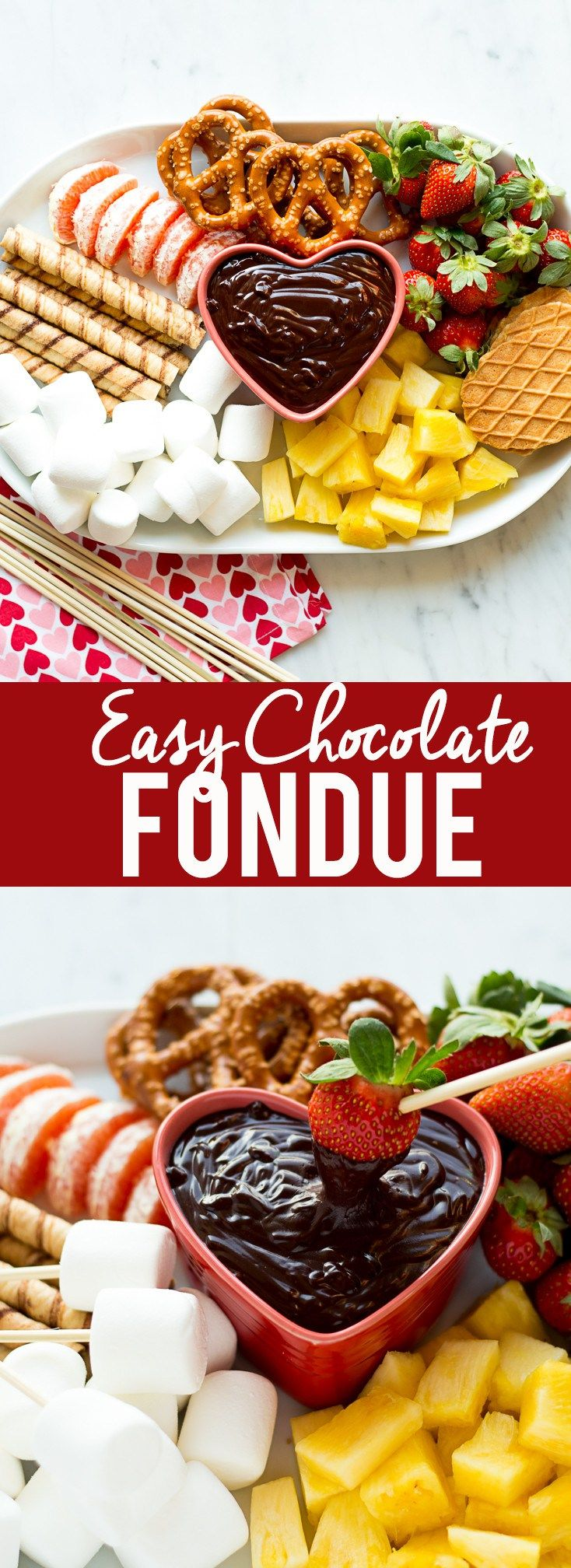 This easy chocolate fondue is a fun dessert for a romantic valentine's day dinner or party. It is rich and chocolatey and doesn't even require a fondue pot!