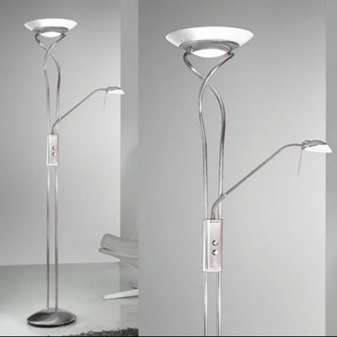 Essentials Sation Mother Child Floor Lamp in Satin Chrome A