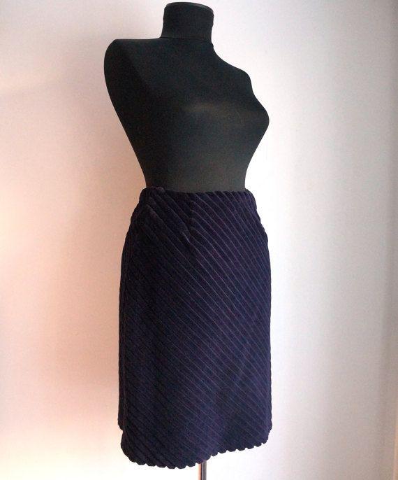 Dark purple wide stripes corduroy short by ForgottenSplendors
