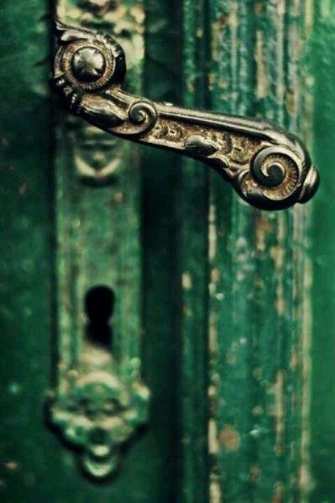 Emerald green door, vintage door handle