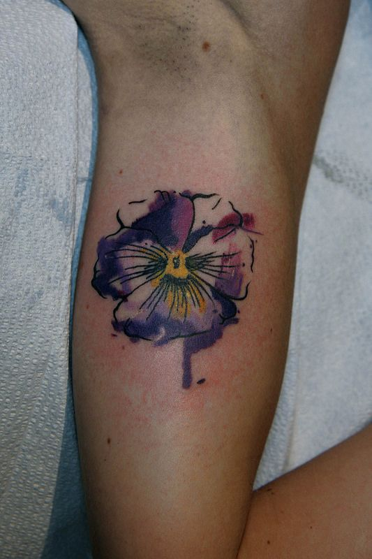 watercolor pansy tattoo (purple, flower, watercolor style, yellow, loose, shades, inside arm, shades)