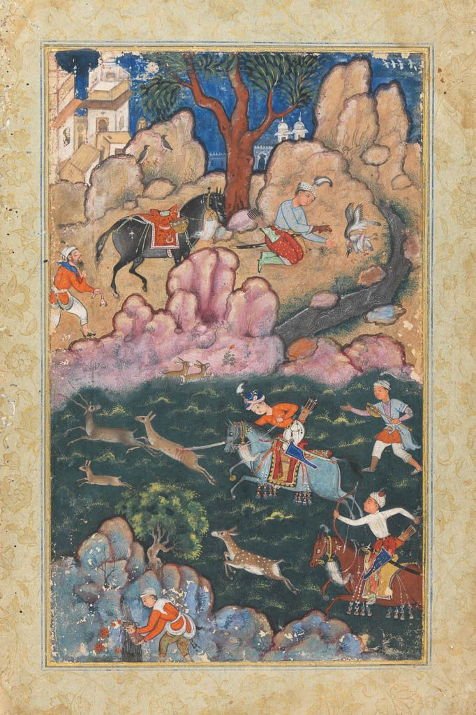 Hunting scene: a prince spearing deer, and above a page taking a falcon from its quarry Calligraphy  Maker: Unknown; miniaturist  Category: miniature (painting)  Date: circa 1565  School/Style: Mogul School  Production Note: From the Akbarnama.