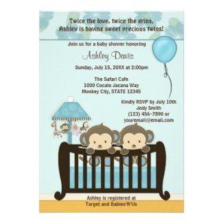 Twin Monkeys in Crib Baby Shower Invitation #monkeys #twins