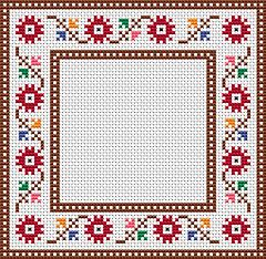 An easy to stitch floral cross stitch frame/border.The pattern contains only full stitches,suitable for beginners.