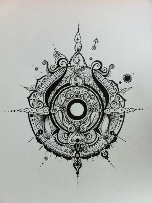 Mandala compass tattoo design.