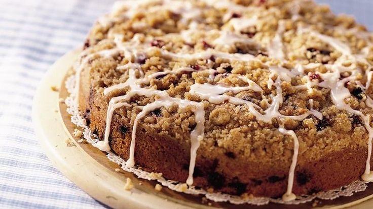 Crunchy cinnamon-and-sugar streusel plus a sweet vanilla glaze top classic homemade coffee cake. Mmm.