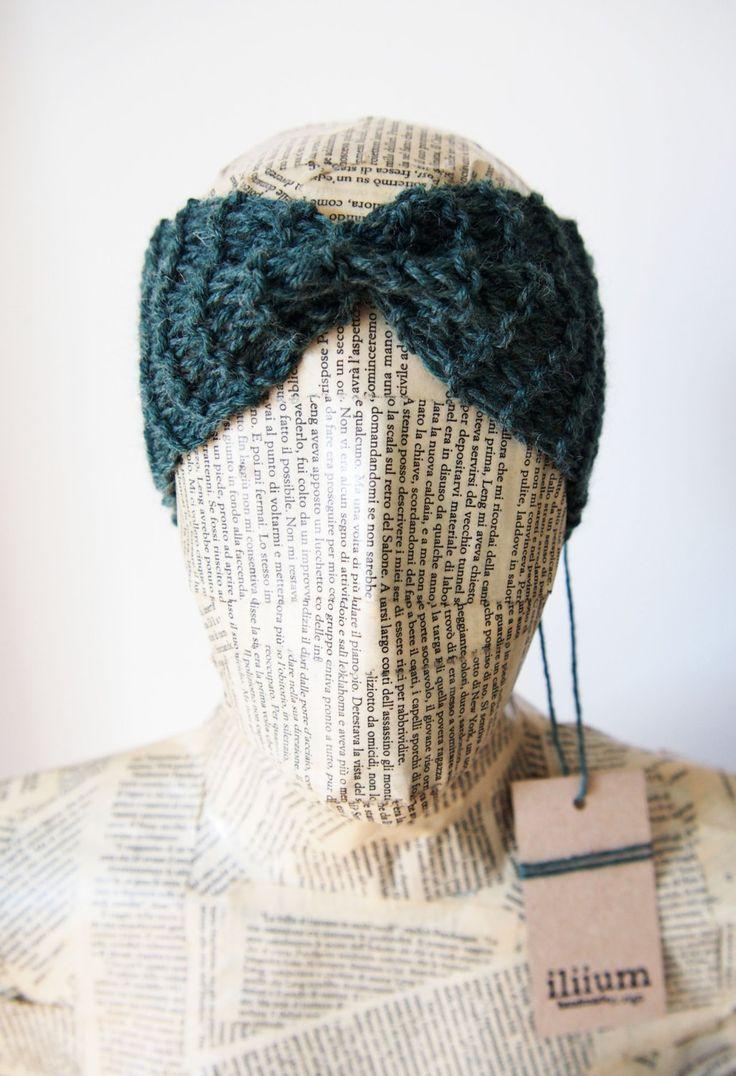 fascia capelli donna ragazza in lana su ordinazione nera grigia verde primavera scuro fatta in Italia handmade accessorio per inverno caldo di iliium su Etsy