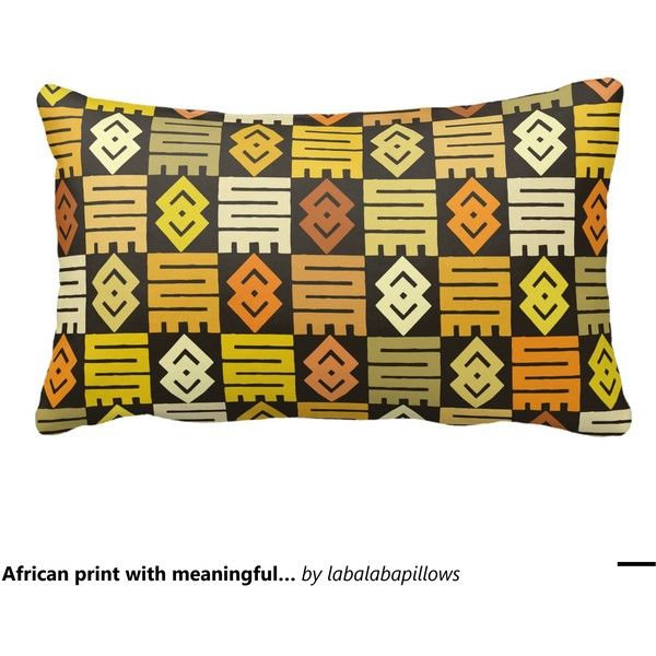 African print with meaningful Adinkra symbols Throw Pillow ($40) ❤ liked on Polyvore featuring home and home decor