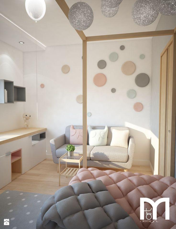 Projekt domu jednorodzinnego z pastelowymi kolorami - Mały pokój dziecka dla dziewczynki dla malucha dla nastolatka, styl nowoczesny - zdjęcie od Mart-Design Architektura Wnętrz