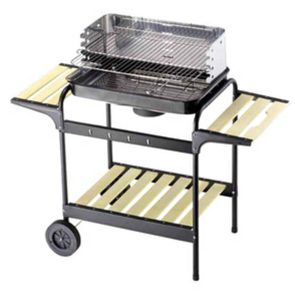 Barbecue struttura in acciaio verniciato con carrello e griglia regolabile