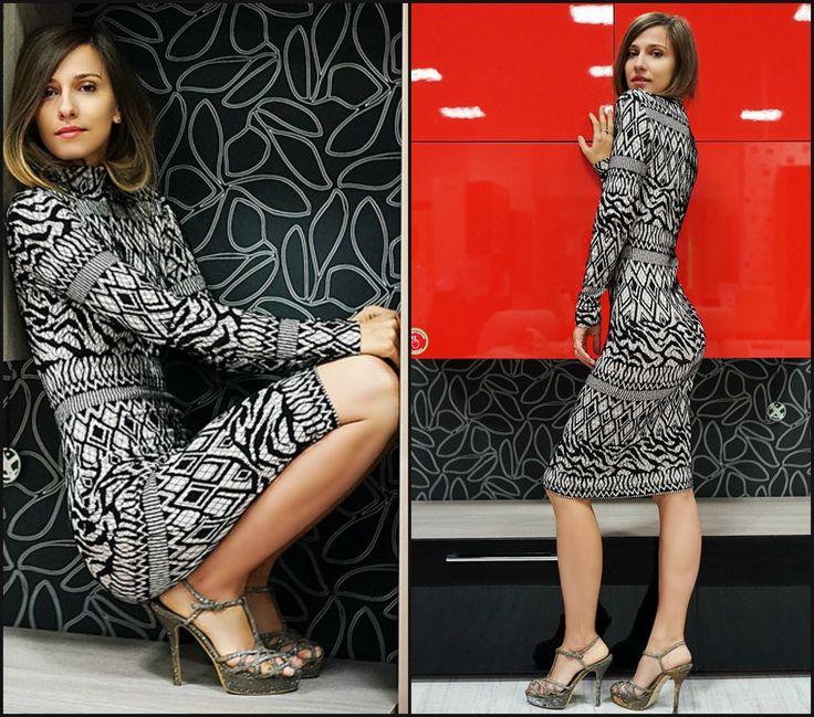 Beautiful Dana Rogoz is wearing our knitted bodycon dress. #DanaRogoz #fallprints #AW15 #knittedress