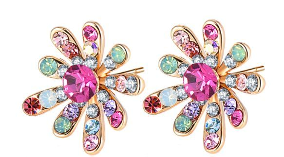 Crystal Flower Stud Earrings Multicolor Austrian