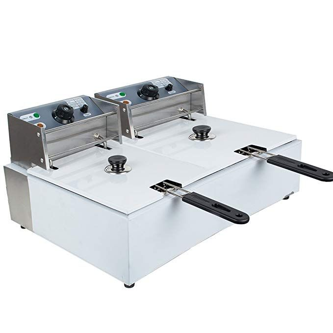 Denshine Commerical Deep Fryer Countertop Dual Tank Electric Deep