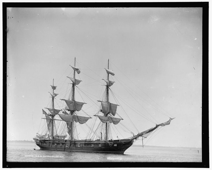 "anchors-aweigh-navy: ""Sloop of war USS Constellation at anchor in 1890. She is now preserved as a museum ship in Baltimore. """