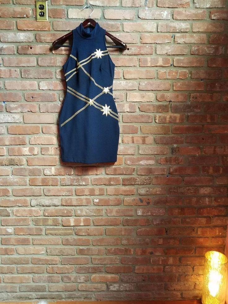 T Tadashi Navy Blue Bodycon Dress Sleeveless Mock Neck Stretch Nautical  #TadashiShoji #StretchBodycon #Festive