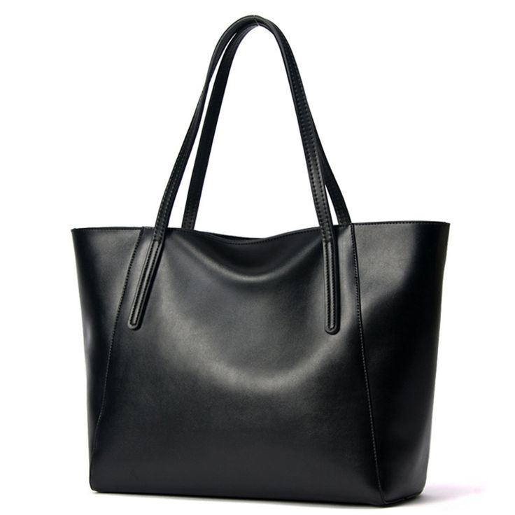 2016 Famous Brand Large Real Leather Tote Bag Female Cow Leather Handbag High-End Women Vintage Bag Black Casual Top-Handle Bags