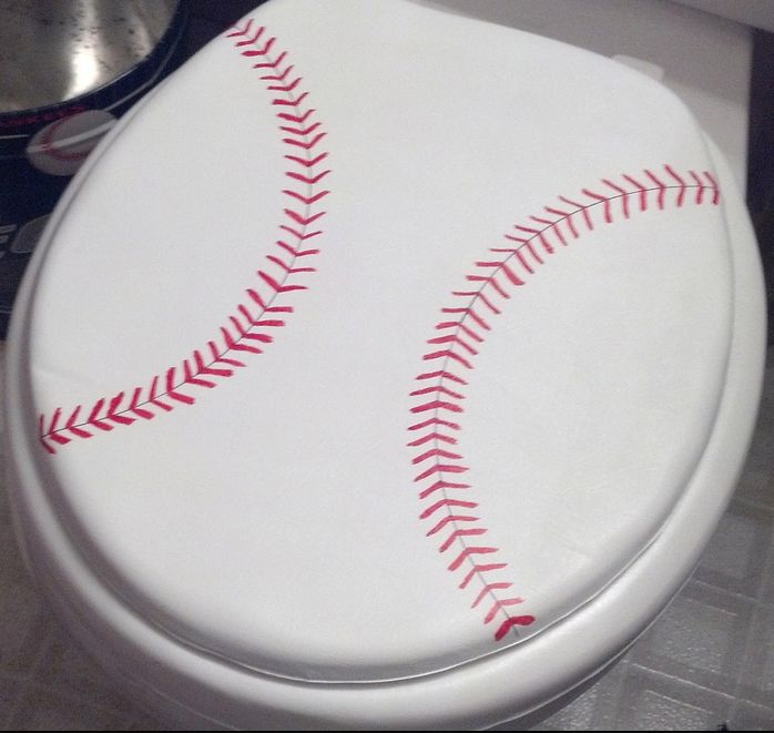 you can paint or put sports decals on many things in your bathroom, like this baseball toilet seat... Extreme Interior Design: Sports Meet Bathroom Decor from Bathroom Bliss by Rotator Rod