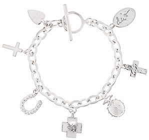 """QVC As Is Shawn's """"Courage Charms"""" Sterling 6-3/4"""" Bracelet, 31.9g"""