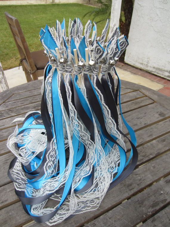 200 Wedding Wands, CUSTOM COLORS to match your wedding, 3 satin ribbons, with bell, Send OFF