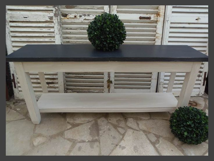 console table drapier atelierdes4saisons patin e gris perle blanc poudr plateau gris ardoise. Black Bedroom Furniture Sets. Home Design Ideas