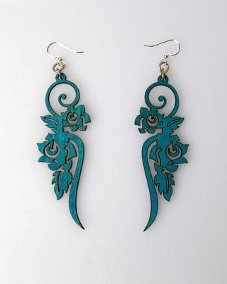 Green Tree Ornament  Wood Earrings - Aqua