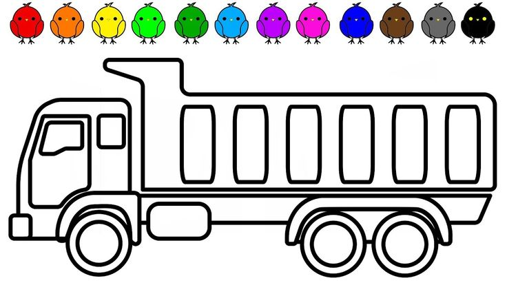 Construction truck, Dump truck coloring pages for children to learn colo...