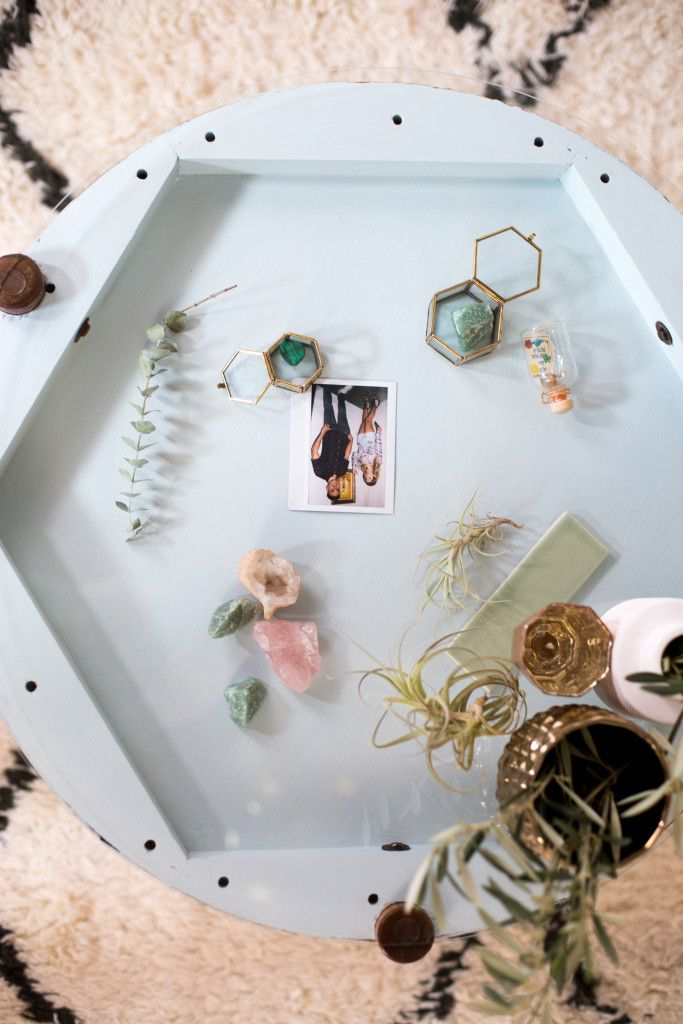 DIY Home Decor | Did you know that you can turn a lot of tables over to create a shadowbox effect? Paint, add some glass, fill with memorabilia and you've got a piece with so much personality!