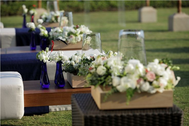 White Rose & Lisianthus, Ornithogalum and Pink Rose with Red Hypericum-Centerpiece line up along the Aisle by Tirtha Bridal Uluwatu Bali