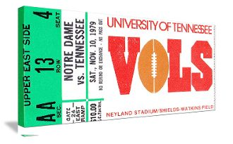 Great vintage Tennessee football ticket art for a game room or office. http://www.shop.47straightposters.com/1979-Notre-Dame-vs-Tennessee-Football-Ticket-Art-79ND-TN.htm