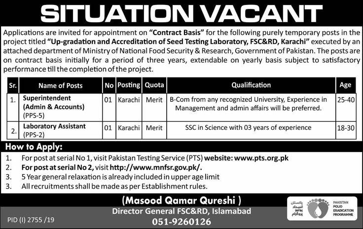 Laboratory Assistant,Superintendent Jobs In Karachi
