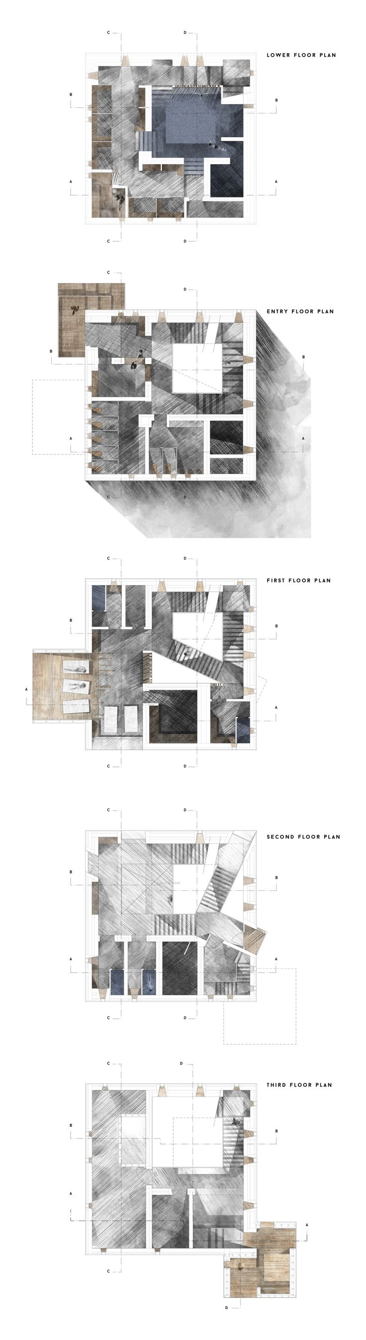 floor plans // Alex Kindlen Final Studio Project #architecture #presentation #drawing #plans