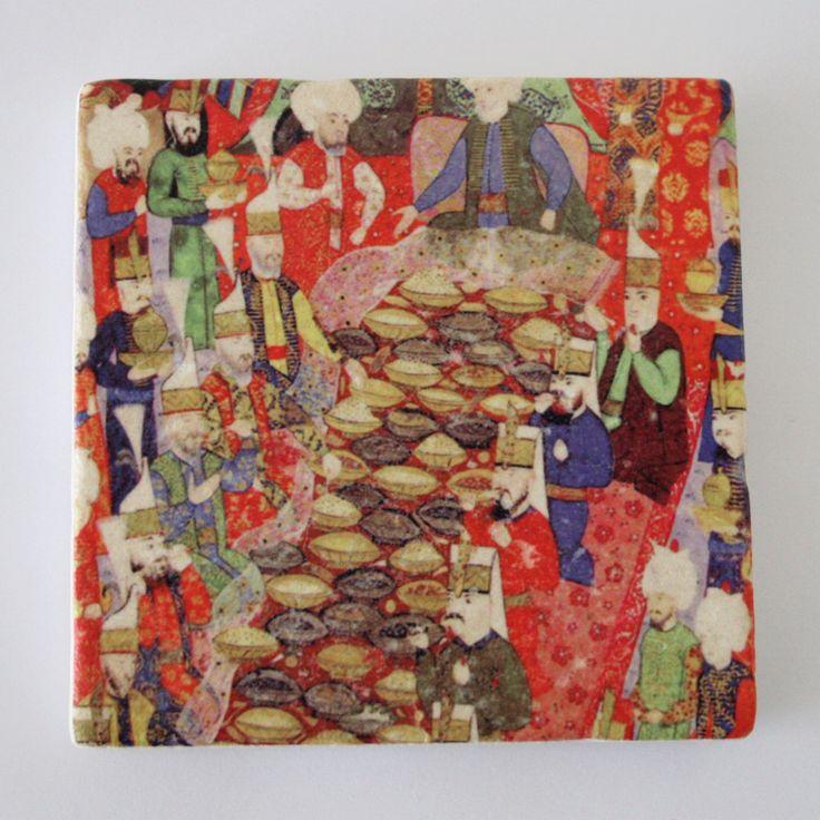 Ottoman Feast Miniature Art Travertine Stone Tile