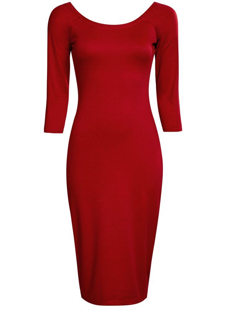 Купить Платье облегающее с вырезом-лодочкой oodji  в интернет-магазине женской одежды oodji