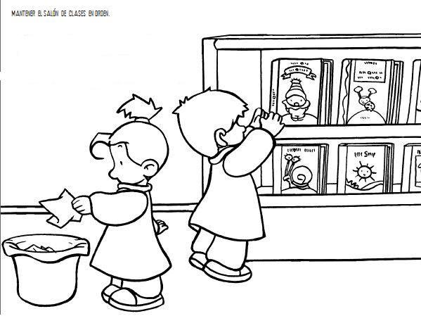 Normas en el aula para colorear y aprender escuela en la for Normas de comportamiento en el restaurante escolar