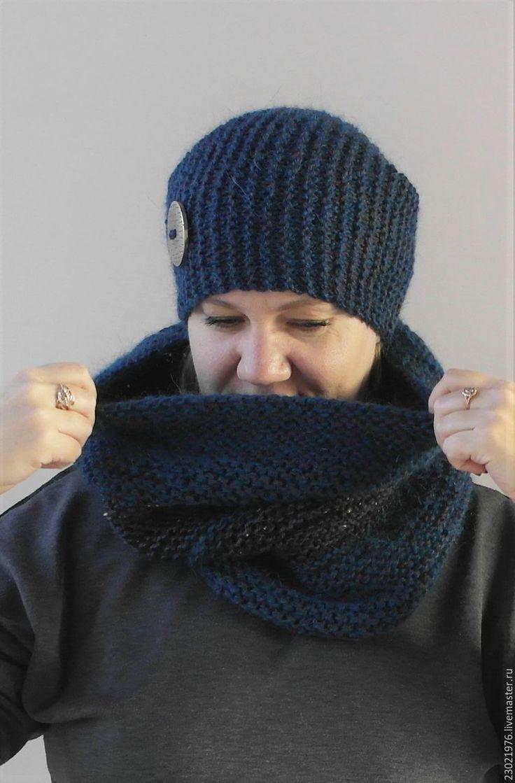 Купить шапка бини и снуд из мохера - снуд вязаный, снуд шарф хомут, шапка вязаная