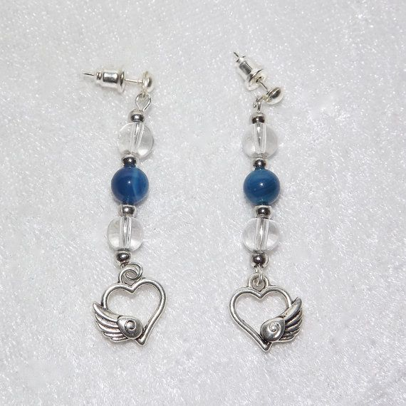 Earrings  Winged Heart Glass & Turquoise  FREE UK by KasumiCrafts