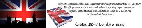 Certificazioni Trinity tutti i livelli 0825431436  - info@formacei.it
