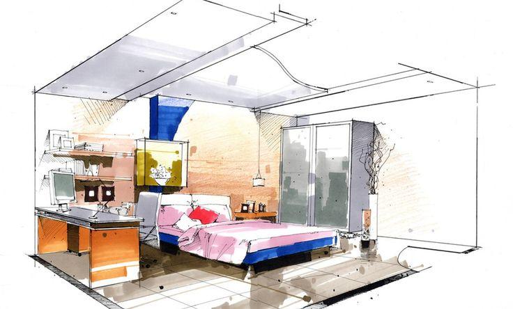 Sketch-bedroom-with-closet-and-desk.jpg (1278×772)