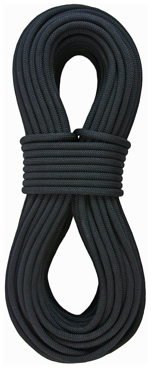 """Sterling Rope 3/8"""" SuperStatic2 Climbing Rope, Black, 46m. 100% Nylon static rope. Made in the USA. Superior handling characteristics. Optimal Elongation. Improved gear compatibility."""