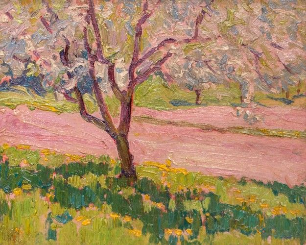 J.E.H. MacDonald - Apple Blossom York Mills 8 x 10 Oil on panel